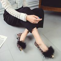 المرأة الجديدة الشقق أحذية الفراء مختلط الألوان أنيقة أشار تو أزياء السيدات أحذية القارب المرأة عادية سيدة Zapatos دي موهير متعطل
