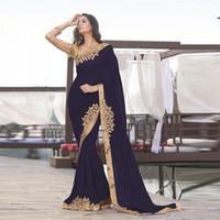 2020 Nouvelle bleu marine indienne sirène robe de soirée formelle partie d'or Moyen-Orient Applique robes en mousseline de soie longues Robes Femmes Nuit Tenue de soirée