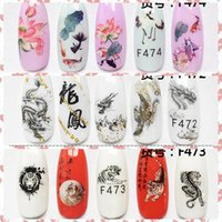 1 Ficha Pintura tradicional chinesa Dragon Phoenix Tiger Goldfish desenhos de unhas adesivo Arte decalques das etiquetas Dicas F472-474 # CF