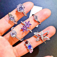 S925 Silver Rings colorful rhinestone Discount Rings good qu...