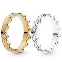 2019 Yeni Varış Kadın Erkek 18 K Sarı Altın Yüzük Seti Orijinal Kutusu Pandora için 925 Ayar Gümüş Egzotik Taç Severler Çift Yüzük
