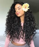 Moda economico non trasformata remy vergine capelli umani lunghi colore naturale onda profonda tappo di cappuccio pieno di pizzo per le donne