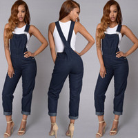 Women Denim Overalls Jeans Pants Ripped Slim Overalls Straps Jumpsuit Rompers Trousers Solid Color Washed Denim Jeans