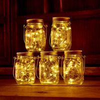 الطاقة الشمسية بالطاقة الصمام ميسون جرز تضيء غطاء 20 المصابيح سلسلة الجنية ستار أضواء المسمار على الأغطية ل mason زجاج الجرار أضواء حديقة عيد الميلاد