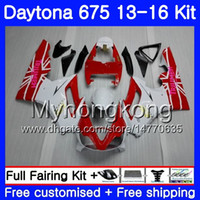 Кузов для Triumph Daytona-675 белый red hot Daytona 675 13 14 15 16 кузов 328ХМ.23 Daytona675 Daytona 675 2013 2014 20 15 2016 Обтекатели