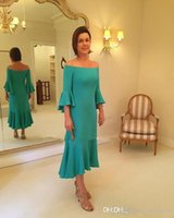 Vintage Tea-length Mother Of The Bride Dresses Satin Green Plus Size Off the Shoulder Mother Formal Evening Dress Party Wear Gowns