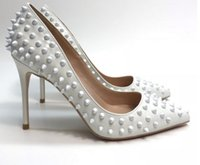 White Rivet women' s High- heeled Shoes Fine- heeled point...
