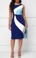Plus Größe 4XL 5XL Frauen Designer Mantel OL Arbeit Kleid Sommer Weibliche Farbe Kontrast Sleeveless Bodycon Kleider