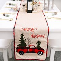 Noël Chemin de Table Nappe Coton Drapier Couverture Drapeau Arbre de Noël Car Table Robe Nappe Manger Tapis Décorations de Noël DHE18