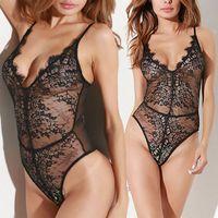 Dentelle Salopette Spaghetti Strap Floral corps noir de femmes sexy costumes sexy Mesdames Jumpsuit Bodysuit