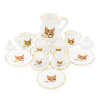 wholesale 1: 12 Miniature 15PCS Porcelain Tea Cup Set Cat Pat...