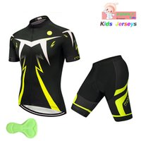Kids Fluorescent Color Cycling Jersey Set 2019 Bike Jersey S...