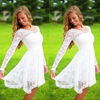 White Beaded Lace Homecoming Dresses 2019 A Line Scoop Long ...
