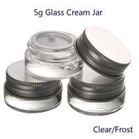 5G Высококачественные прозрачные / морозные стеклянные сливки сливки составляют банку с алюминиевыми крышками косметический контейнер упаковки