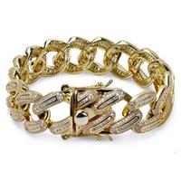 Qualitäts-Hip Hop-Diamant-Armband-Tennis-Armband-volle Diamant-Nagel-Anhänger Armband-Mikro Zirkonia Kupfer Anhänger Set Diamant