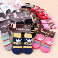 Собака одежда хлопок прекрасная полоса когти шаржа напечатанный носок домашнее животное зимние теплые носки носки WY321Q