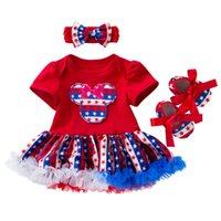 4th July 3PCS Newborn Baby Girls Outfits Headband Independen...