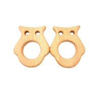 Faia de madeira mordedor de gato inacabado animal de madeira food grade bebê anel de madeira mordedor diy encantos colar de enfermagem pingente