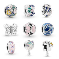 New style butterfly flower charm beads fit for bracelet necklace bangle DIY Jewelry big hole charms Accessories as gift