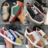 Erkek Düz Eğitmen Junior Spike Orlate Ayakkabı Kırmızı Alt Sneaker Dantel-up Kristal Gerçek Deri Koşucu Parti Düğün Ayakkabı US12.5