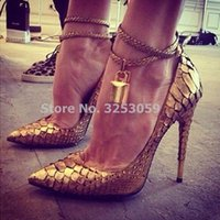 ALMUDENA Women Sexy Gold Heels Padlock Pointed Toe Dress Pumps Snakeskin Ankle Strap Metal Decoration Banquet Shoes Dropship