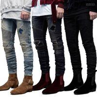Pantolon Pantalones Slim Fit GD Biker Jeans Mens Ripped dökümlü Tasarımcı Delikler Kalem Jean