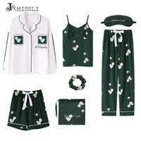 Jrmissli نساء منامة 7 قطع الحرير النوم بيما 100٪٪ المنزل ارتداء ملابس المنزل المنزل صالة النوم بيجامة
