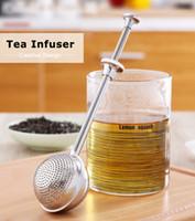 Premium Infusor de té de acero inoxidable Mango largo Reutilizable Colador de bola de té Filtro de metal para especias Hierba té Accesorios para bebidas