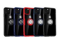 Acryl PC TPU Luxus-Carbon-Faser-Verteidiger-Fall für iPhone 11 Pro Max XR XS MAX Anmerkung 10 Metallring Halterung KFZ-Halterung