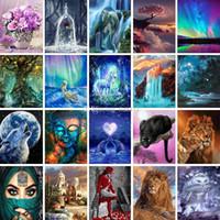 500+ Designs 5D Gemälde Kunst Geschenke Diy Diamant Gemälde Kreuz Kits Diamant-Mosaik-Stickerei-Landschaft Tiere Malerei DHL schnell liefern