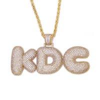اسم مخصص رسائل قلادة القلائد للحصول على الرجال الهيب هوب مكعب الزركون قلادة ذهبية فضية سلسلة مجوهرات
