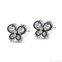 Gorgeous Butterfly Stud Earrings For Women Inlaid Clear CZ S...