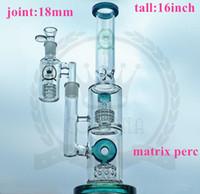 Bongs de vidrio Hookah 3 capas PERC DAB RIG GREEN NEGRO Rosa Púrpura Color azul Tubo de agua 16 pulgadas 18 mm Ash Catcher con tazón
