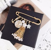 2019 new fashion pearl anchor tassel pin brooch star pearl p...