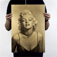 Vintage Classic Marilyn Monroe poster Cafe Bar decorazione domestica pittura retro della carta kraft Wall Sticker parati 51.5X36cm