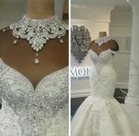 Vestidos de boda de la sirena árabe de lujo de Dubai Árabes Train de corte de cristales de respaldo sin espalda Tamaño grande Vestidos nupciales Personalizado