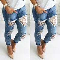 Giyim Delik Jeans Kadın Pantolon Kadın Kız Orta Bel Casual Pantolon Denim Vintage Düz Jeans Soğuk Ripped