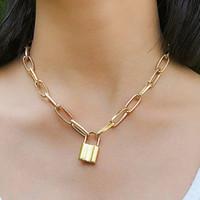 N166 الشعبية قفل قلادة سلسلة قلادة الشرير ربط سلسلة لون الذهب قفل قلادة قلادة أزياء المرأة القوطية المجوهرات هدية