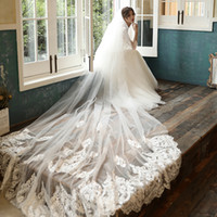 3 Meters Long Bridal Veil 2020 Two Layers Short Lace Appliques Cathedral Wedding Veils with Comb accessoire mariage AX01