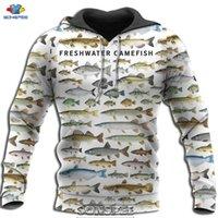 SONSPEE 2020 Autumn Fishing 3D Print Freshwater Fish Hoodie Casual Hip Hop Men Women Camouflage Coat Pullover Tops Sweatshirt
