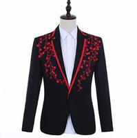 певцы вышитые блейзер мужчин костюмы конструкции куртки мужские сценические костюмы одежду танец звезды стиля платье панк-рок Homme Мужчина для