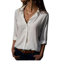 Kobiety Sexy Głębokie Neck Szyfonowa Bluzka Solidna Z Długim Rękawem Przycisk Koszule Jesień Biuro Lady Eleganckie Blusas Topy Plus Rozmiar