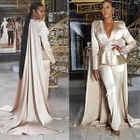 Champagne Empire Jumpsuit robes de soirée avec Cape col en V à manches longues Peplum satin tapis rouge célébrité robe longueur cheville satiné robe de bal