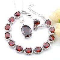 Luckyshine 3 st Lot Ellipse Ruby Mode Smycken Sets 925 Silver Halsband för Kvinnor Tjej Pendants Stud Örhängen Pendant Gratis Shipp