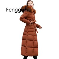 Gris Extra Long 2020 Fashion Slim Veste d'hiver Coton rembourré chaud Thicken manteau dames Manteaux longs Femmes Parka