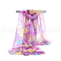 Lujo creativa gasa de las mujeres de impresión bufanda de la manera del patrón de flor del Peony originalidad bufandas retro señora Beach Chales TTA1225-14