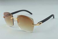 2019 Hot vente récent style exquis 3524018-4 micro-lentilles de coupe, lunettes de soleil temples en bois naturel noir verres, taille: 18-135mm