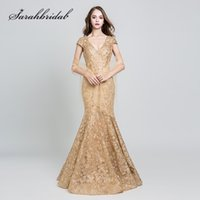 2019 Elegant Evening Dresses Long Gold Lace Embroidery Sexy ...