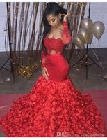 2019 Aso Ebi Style Prom Dresses 3D Rose Fiori per le donne Party Wear Backless Dubai Caftano rosso manica lunga Due pezzi abiti da sera
