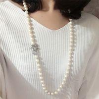 Горячие продажи 75 см белый 8-9 мм натуральный пресноводный жемчуг стеклянные бусины бантом застежка ожерелье длинный свитер цепи мода ювелирные изделия